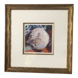 Print by Jerry Brown, Art of Sleeping Cat For Sale