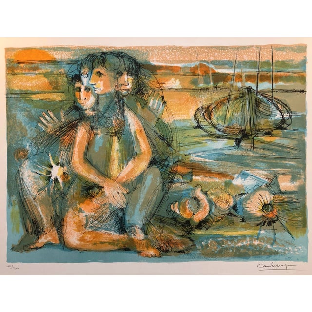 1960s Jean Camberoque French Beach Lithograph For Sale - Image 12 of 12