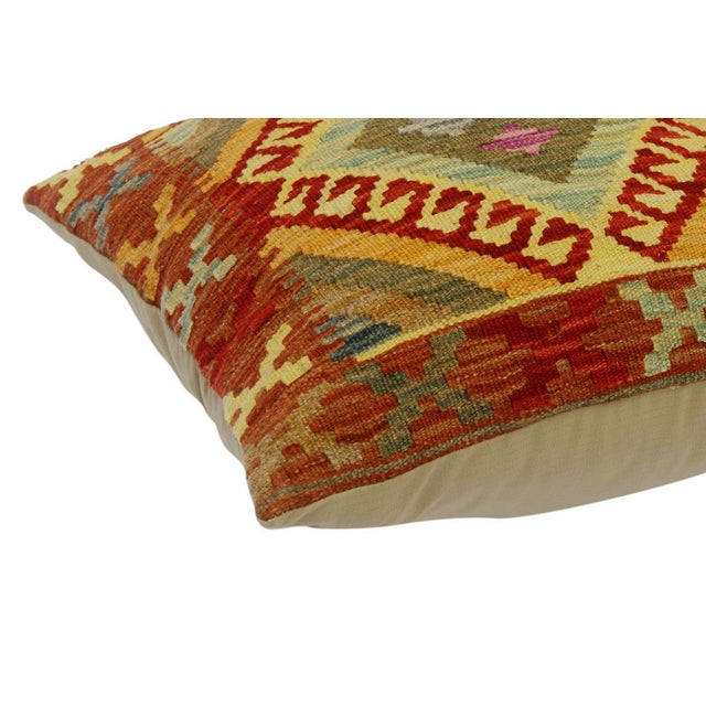 "Asian Cherise Rust/Gold Hand-Woven Kilim Throw Pillow(18""x18"") For Sale - Image 3 of 6"