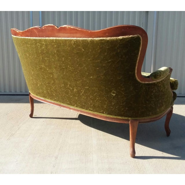Antique Victorian Velvet Sofa Settee Green For Sale - Image 4 of 13