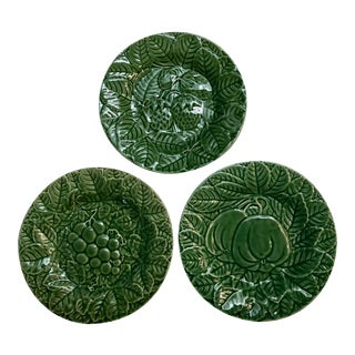 Set of 3 Vintage Portuguese Green Majolica Salad or Dessert Plates For Sale