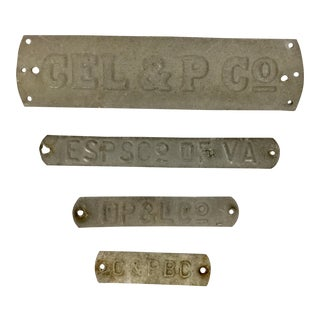 Antique Aluminum Name Plates - Set of 4 For Sale