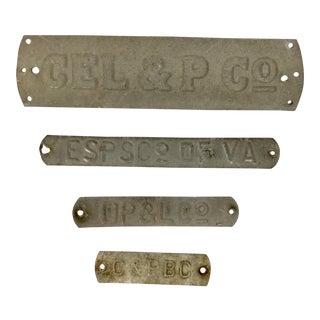 Antique Aluminum Name Plates - Set of 4 For Sale