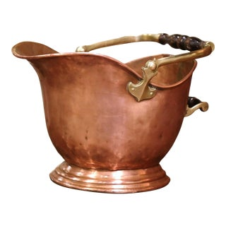 19th Century English Victorian Copper and Brass Coal Bucket For Sale