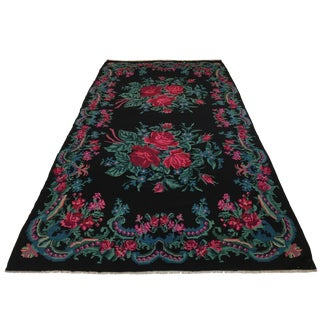 Vintage Rose Kilim 6'3 X 12' | Bessarabian Kilim in Black and Turquoise For Sale