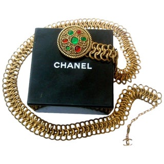 Chanel Gripoix Poured Glass Gilt Metal Belt. 1980's. For Sale