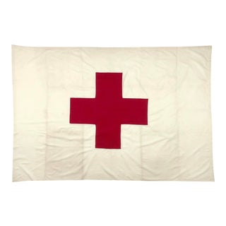 Large Mid 20th Century Red Cross Flag For Sale