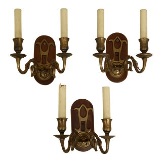 Set of 3 Virginia Metalcrafters Brass & Wood Mounted Wall Sconces For Sale