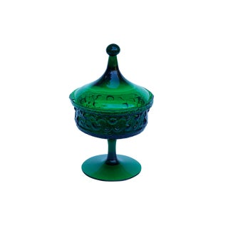 Emerald Green Glass Candy Dish With Lid For Sale