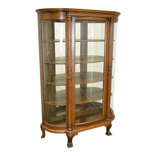 Antique Victorian Oak Bow Glass Claw Foot China Cabinet