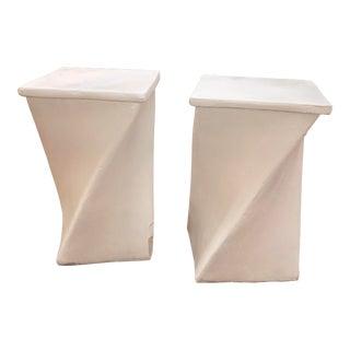 Custom Plaster Twist Stools - a Pair For Sale