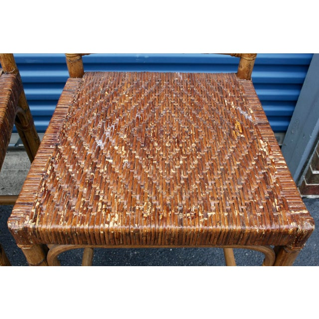 Rattan Wicker McGuire-Style Fretwork Bar Stools - Set of 3 - Image 10 of 11