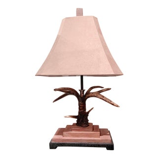 Faux Stag Horn Table Lamp With Suede Shade by Uttermost For Sale