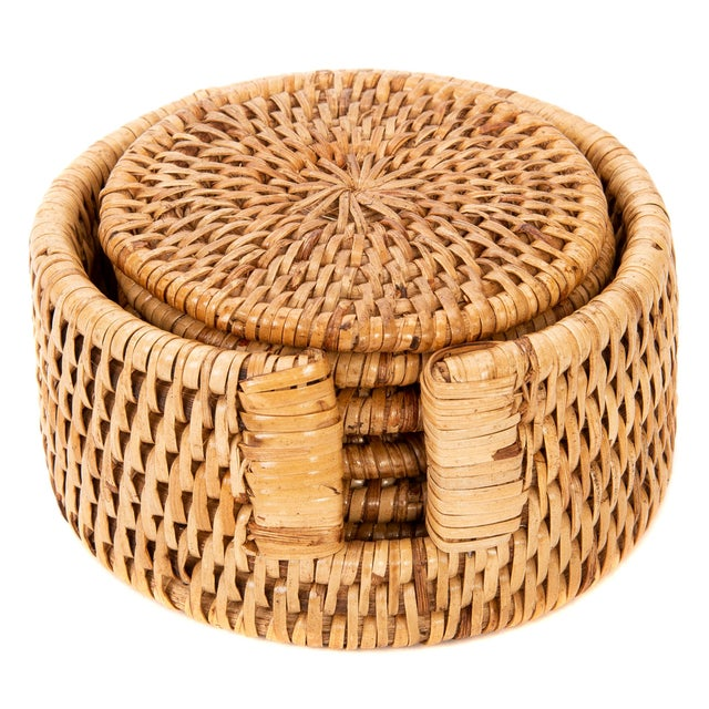 2020s Artifacts Rattan 6-Piece Round Coaster Set With Box For Sale - Image 5 of 5