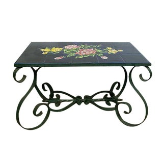 Vintage French Tile Top Coffee Table For Sale