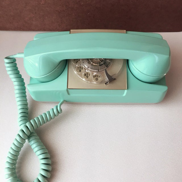 Mid-Century Modern GTE Automatic Electric Aqua Starlite Princess Style Rotary Telephone For Sale - Image 3 of 11