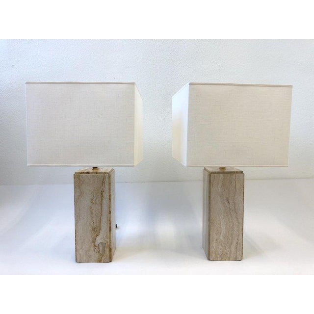 Brass Italian Travertine and Brass Table Lamps - a Pair For Sale - Image 7 of 10