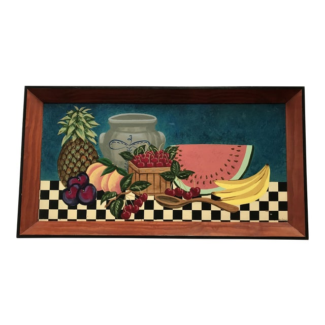 Painted Fruit Wooden Tray For Sale