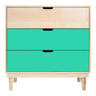 Kabano Modern Kids 3-Drawer Dresser in Maple With Mint Finish For Sale