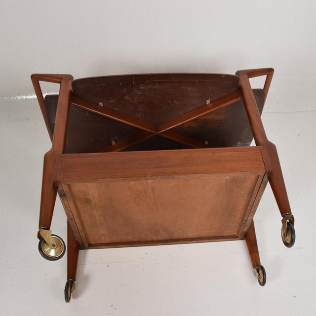 Brown Mid-Century Mexican Modern Mahogany Service Cart For Sale - Image 8 of 10