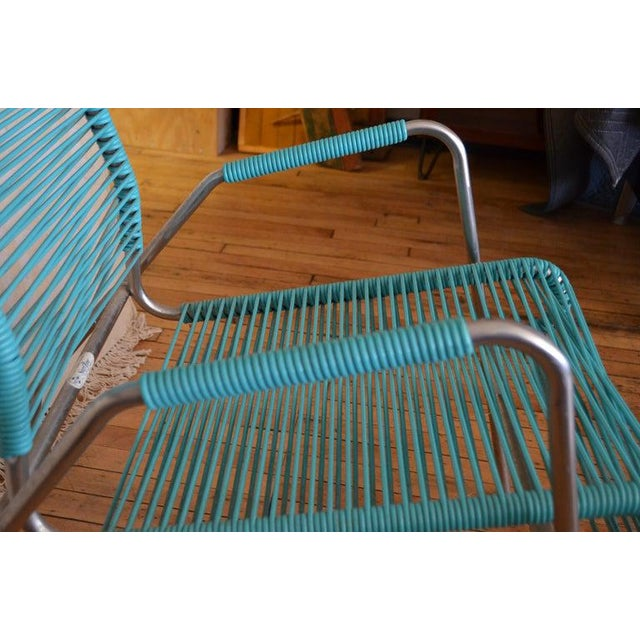 Metal Patio Furniture by Surf Line, 2 Lounge Chairs, 1 Chaise in Stainless and Aqua For Sale - Image 7 of 13