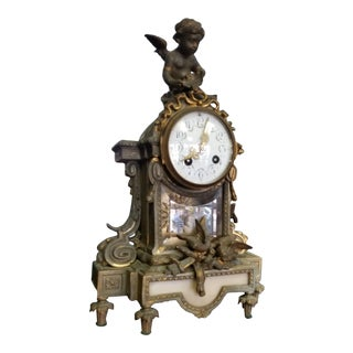 19th Century Traditional Brass and Marble Mantle Clock For Sale