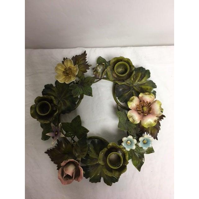 Vintage Italian Tole Floral Centerpiece Wreath - Image 5 of 6