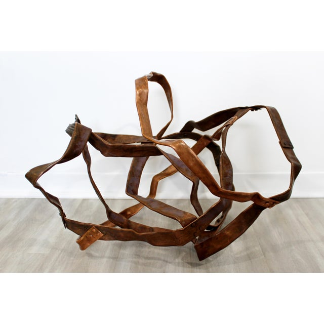 For your consideration is an magnificent, forged copper metal table or floor sculpture, signed by Robert D. Hansen, dated...