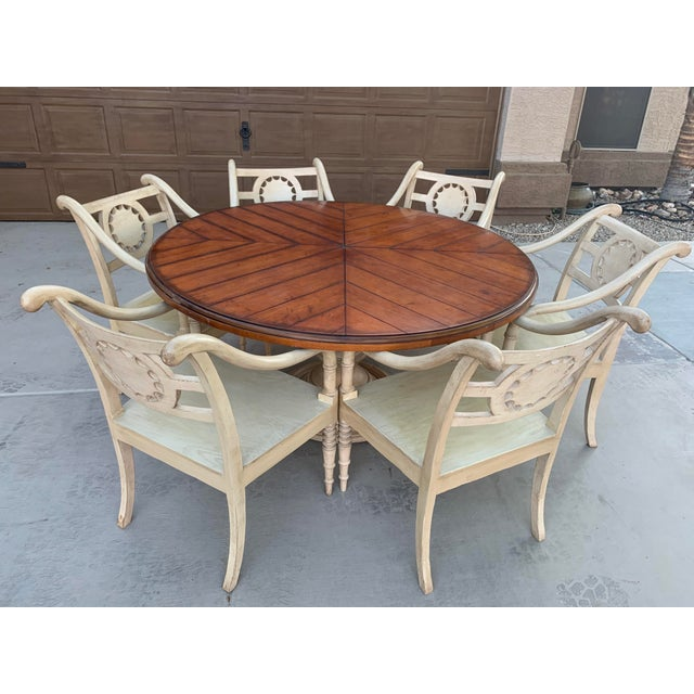 French Vintage Baker Furniture Milling Road French Country Dining Table and Six Chairs - Set of 7 For Sale - Image 3 of 11