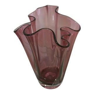 Pink Handkerchief Glass Vase
