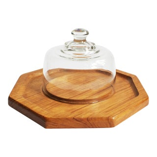 Vintage Glass Cloche on Hexagonal Teak Wood Tray