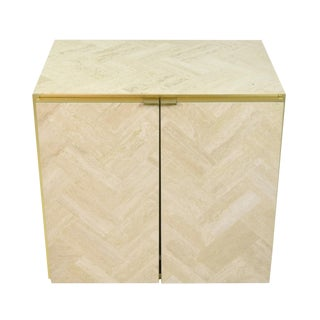 1980s Italian Ello Marble Travertine and Brass Cabinet End Table For Sale