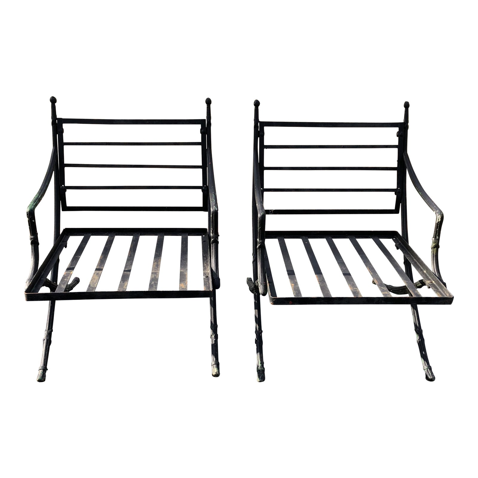 Vintage Mid Century Hollywood Regency Wrought Iron Outdoor Chairs A