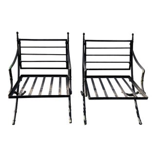 Vintage Mid Century Hollywood Regency Wrought Iron Outdoor Chairs- a Pair For Sale