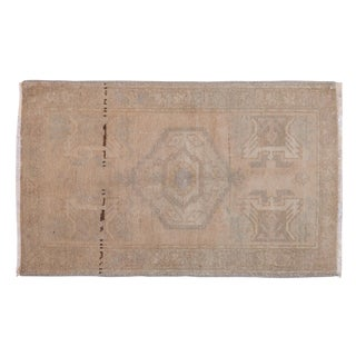 "Vintage Distressed Oushak Rug Mat - 1'7"" X 2'7"" For Sale"