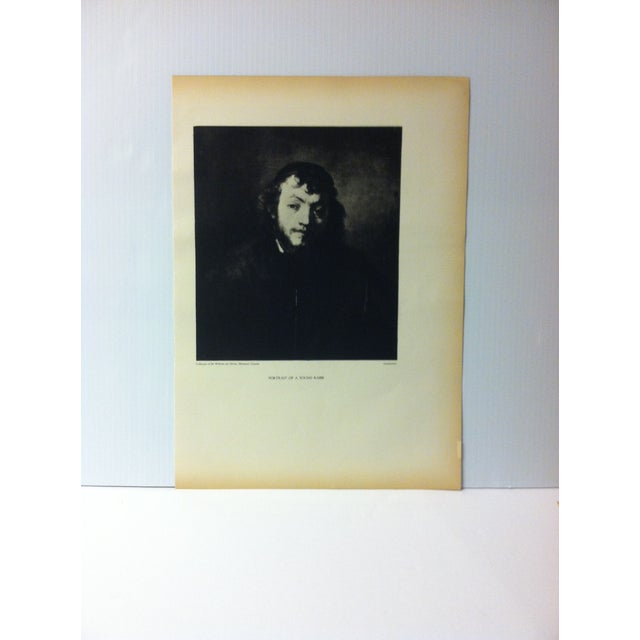 """Vintage Black & White Print of a Rembrandt Painting, """"Portrait of a Young Rabbi"""" For Sale - Image 4 of 4"""