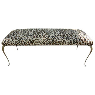 1960s Vintage Italian Gio Ponti Inspired Upholstered Leopard Print Hair Hide Bench For Sale