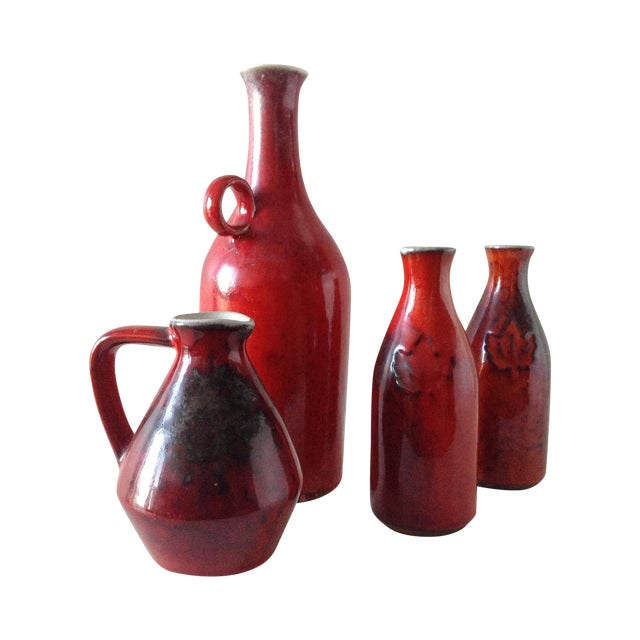 Terracotta Red Glazed Containers - Set of 4 - Image 1 of 10