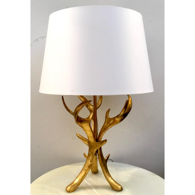 Arteriors Home Arteriors Modern White an Gold Buck Table Lamp For Sale - Image 4 of 4