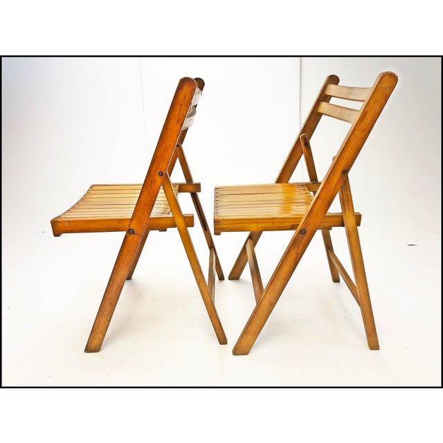 Metal Vintage Rustic Slat Wood Folding Chairs - Set of 4 For Sale - Image 7 of 13