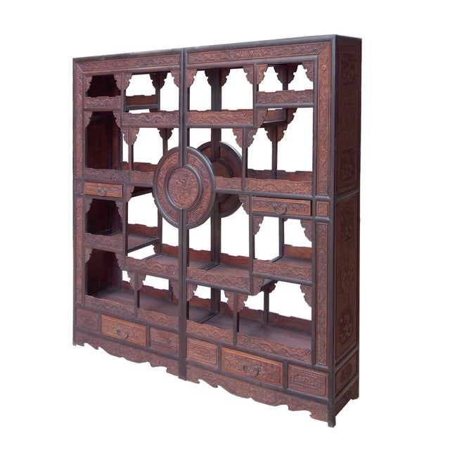 Asian Antique Chinese Rosewood Display Curio Cabinets - A Pair For Sale - Image 3 of 10