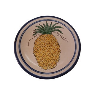 Vintage Mexican Redware Pineapple Decorative Plate For Sale