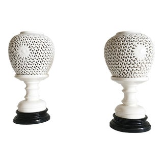 Hollywood Regency Blanc De Chine Table Lamps For Sale