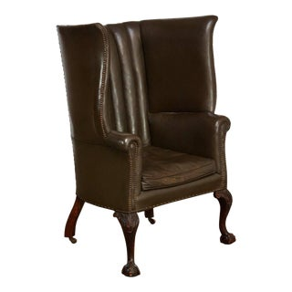 19th Century English Leather Porters Barrel Back Wing Chair
