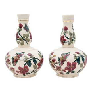 Antique Italian Floral & Butterflies Double Gourd Vases - a Pair For Sale