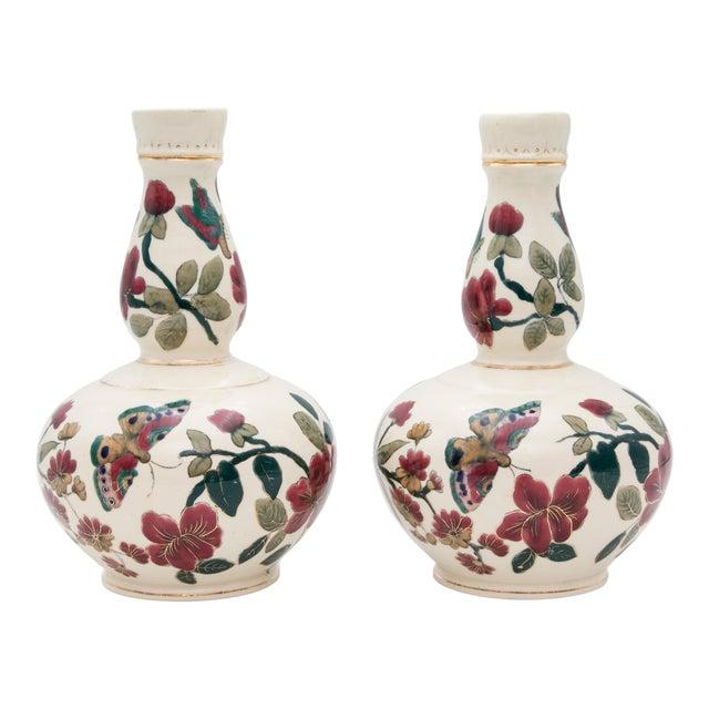 Antique Italian Floral & Butterflies Double Gourd Vases - a Pair For Sale