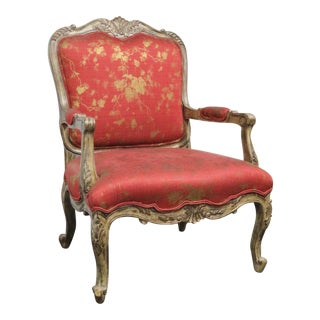 Louis XV Carved & Painted Oversized Arm Chair For Sale