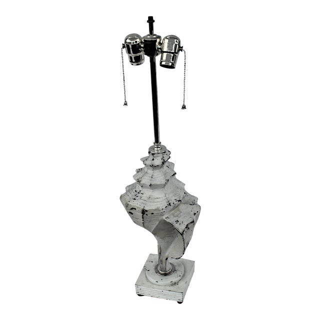 Original White Metal Conch Shell Lamp For Sale