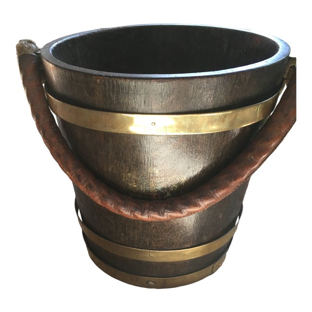 English Brass Bound Wooden Bucket With Leather and Rope Handle For Sale