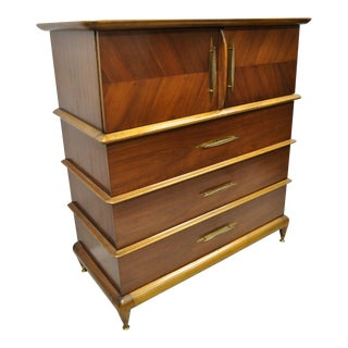 Kent Coffey the Appointment Mid Century Sculpted Walnut Chest Dresser Highboy For Sale